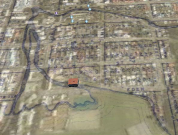 Otago Polytechnic D-block in Google Earth with Thompson's 1872 Town Plan