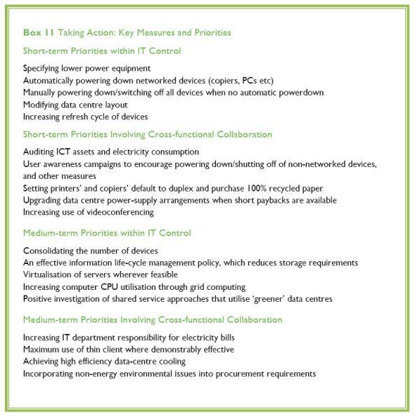 Key measures and priorities